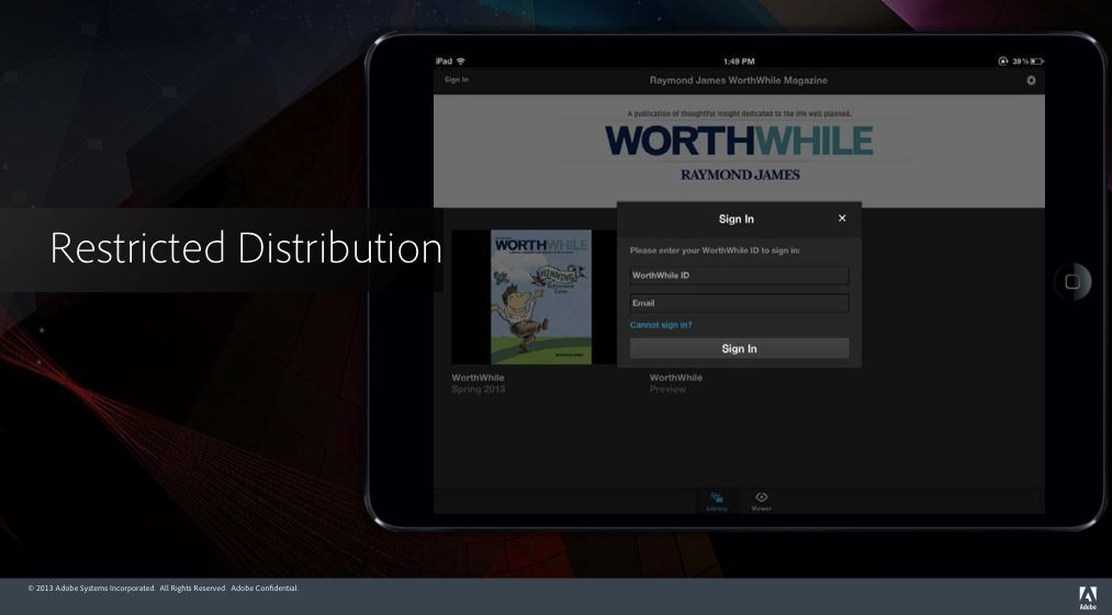 Restricted distribution - Adobe DPS