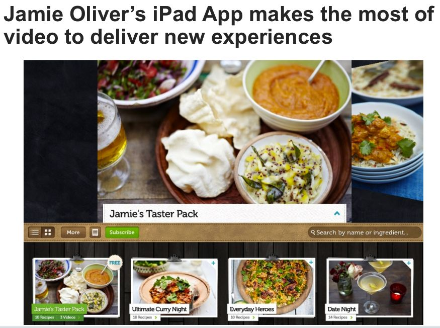 Jamie Oliver's iPad App - source Forrester