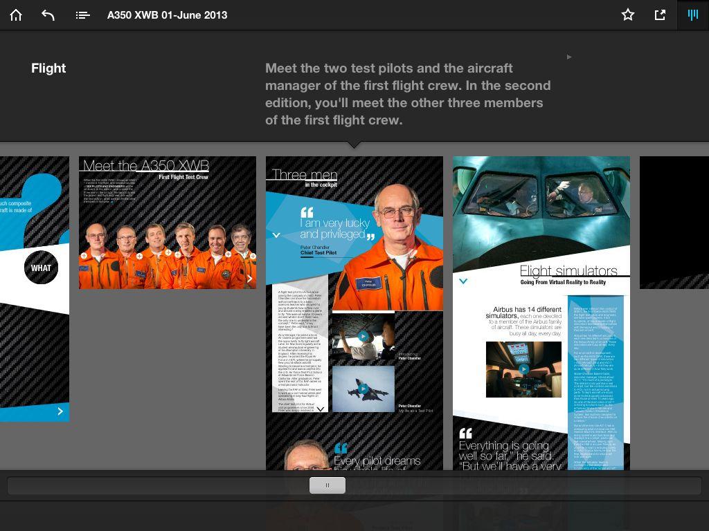 Extrait - Navigation dans magazine A350 Airbus sur iPad