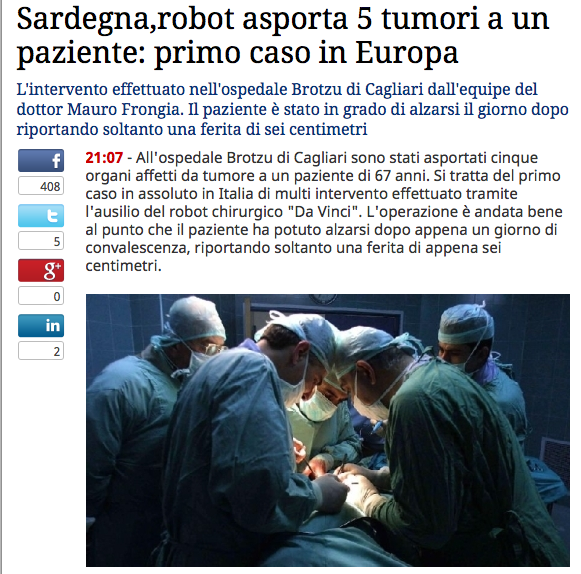 Surgery robots at Botzu hospital, Sardegna
