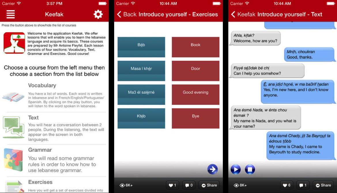 Keefak écrans application mobile