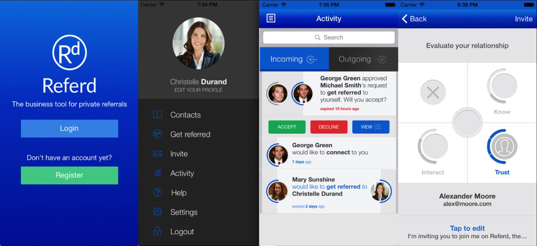 Referd app screens