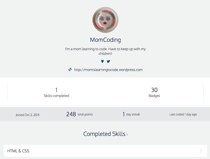 Momcoding HTML badges on Codecademy