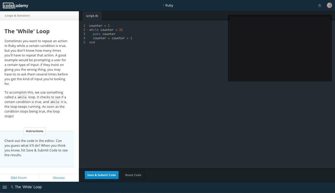 Ruby Course on Codecademy