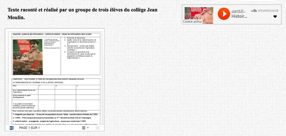 Texte raconté et réalisé par un groupe de trois élèves du collège Jean Moulin.